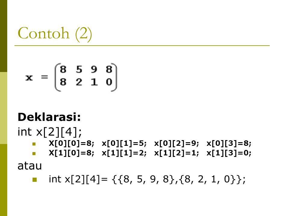 Contoh (2) Deklarasi: int x[2][4]; atau